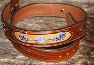 custom leather belt with embroidered underlay
