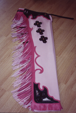 rodeo chaps with 2 tone pink trim