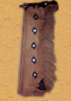 reining chaps with silver basket stamp conchos